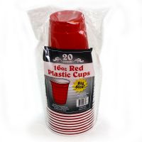 PLASTIC 16 OZ PS RED CUP, 11 GR, 20 CT